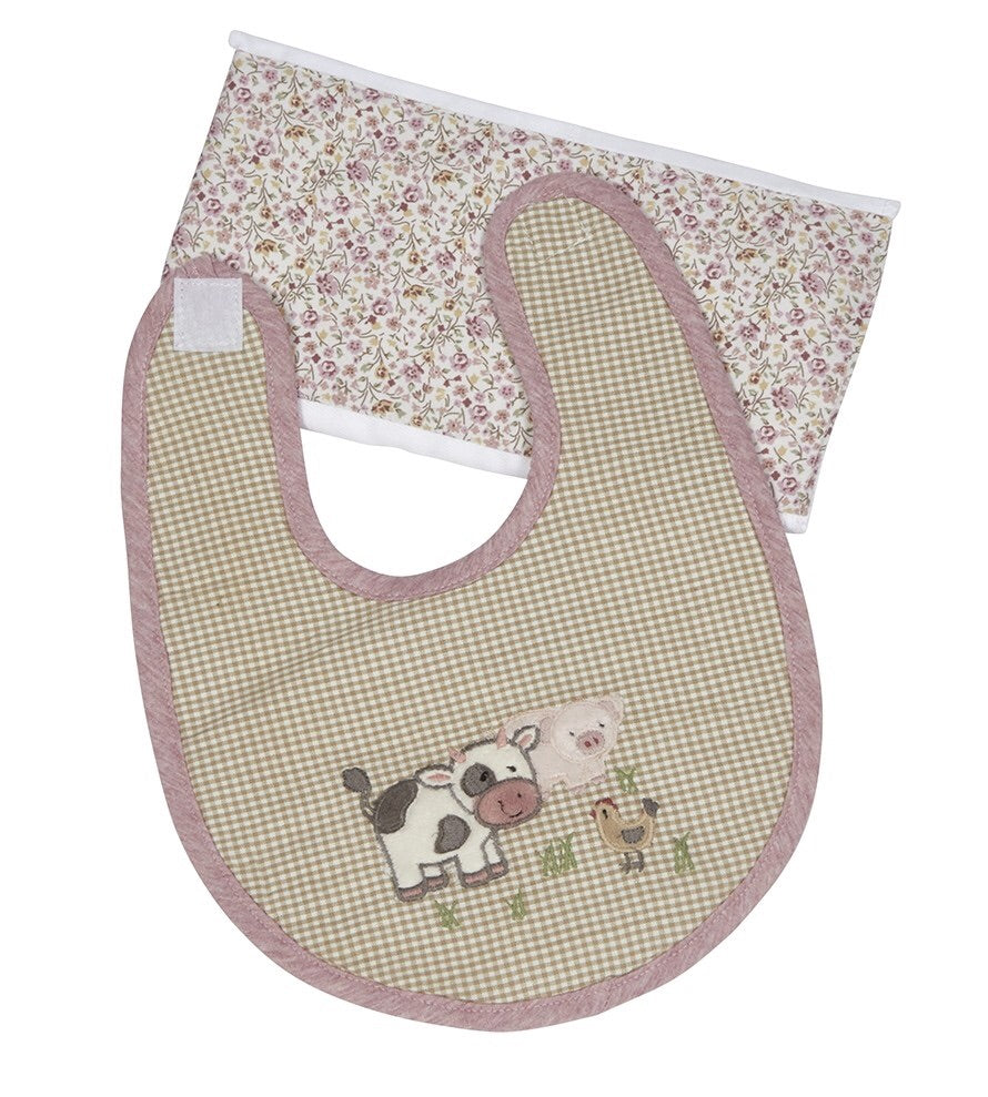 Farm Friends Boxed Bib & Burp Gift Set