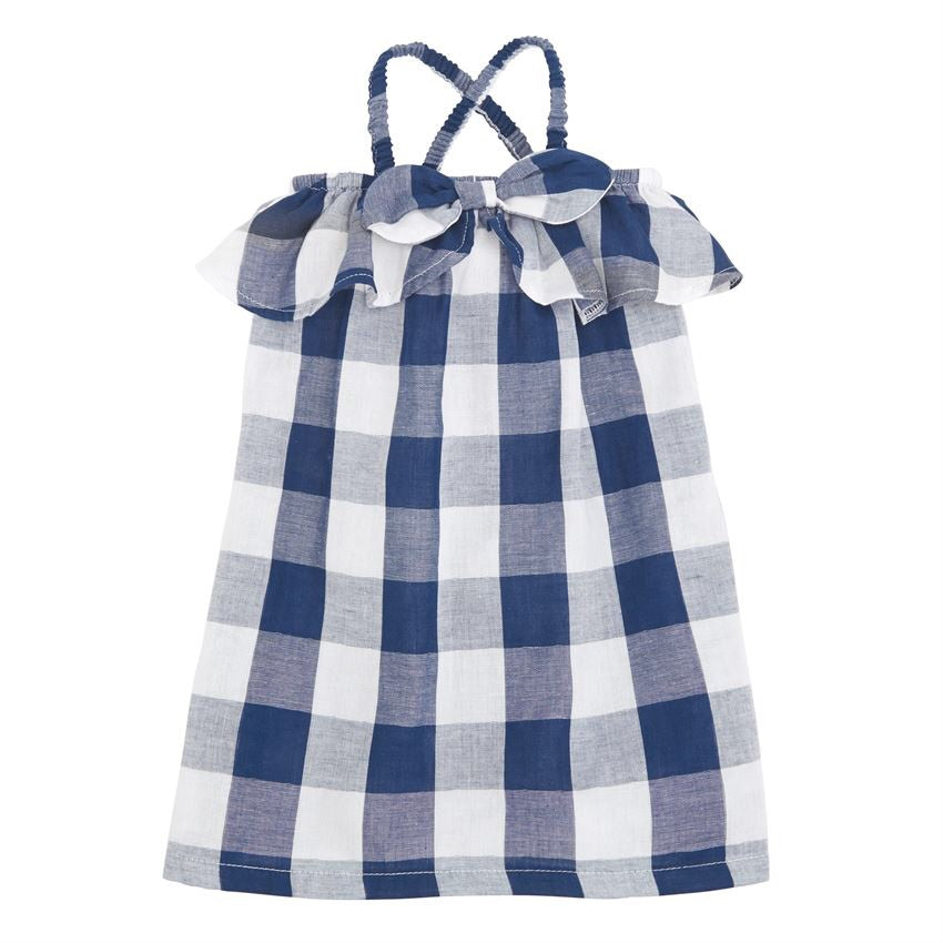 Navy Ruffle Gingham Bow Dress