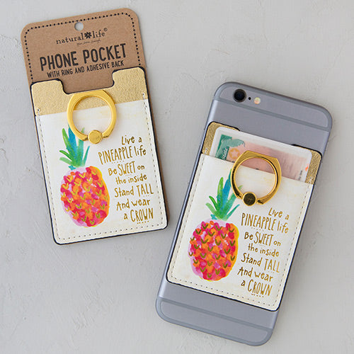 Live a Pineapple Life Phone Pocket Ring