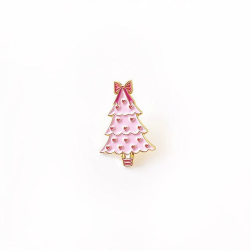 Pink Christmas Tree Enamel Pin