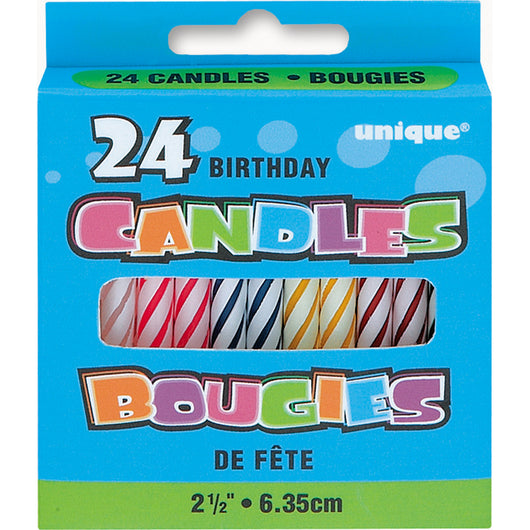 Multicolor Birthday Candles, 24ct