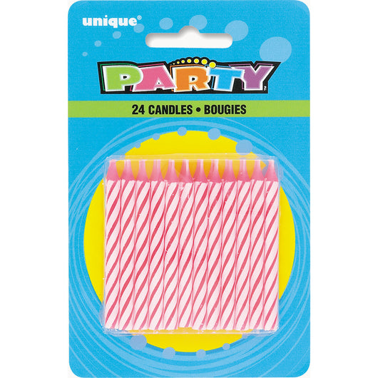 Pink Spiral Birthday Candles, 24ct