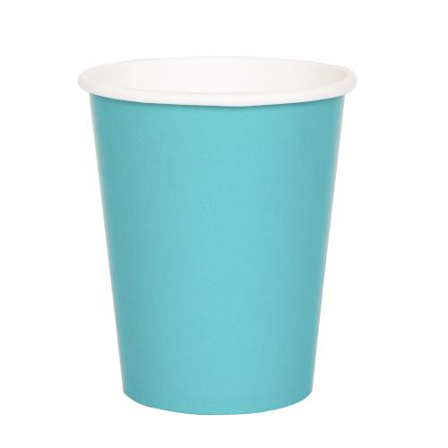 Caribbean Teal Solid 9oz Paper Cups, 8ct