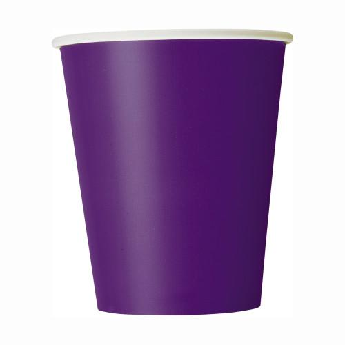Deep Purple Solid 9oz Paper Cups, 8ct