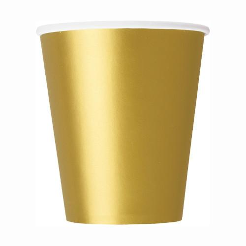 Gold Solid 9oz Paper Cups, 8ct