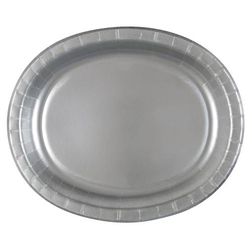 Silver Solid Oval Plates, 8ct