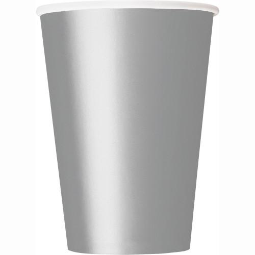 Silver Solid 9oz Paper Cups, 14ct