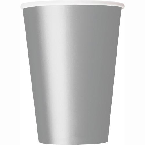 Silver Solid 12oz Paper Cups, 10ct