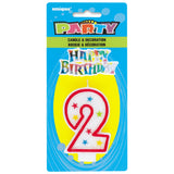 Number 2 Glitter Birthday Candle with Cake Decoration