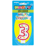 Number 3 Glitter Birthday Candle with Cake Decoration
