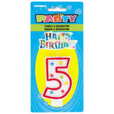 Number 5 Glitter Birthday Candle with Cake Decoration