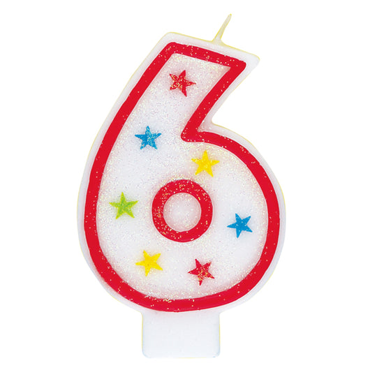 Number 6 Glitter Birthday Candle with Cake Decoration