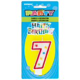 Number 7 Glitter Birthday Candle with Cake Decoration