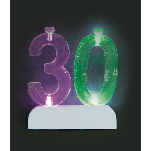 Number 30 Flashing Holder with Birthday Candles