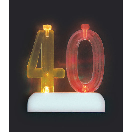 Number 40 Flashing Holder with Birthday Candles
