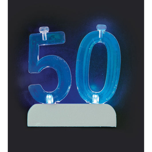 Number 50 Flashing Holder with Birthday Candles