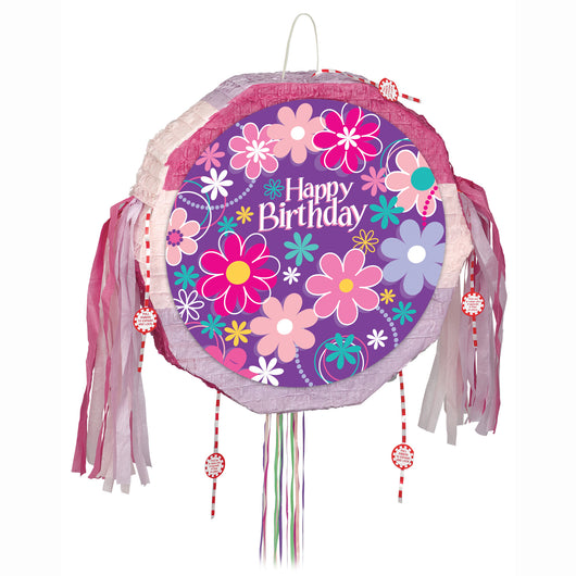 Birthday Blossoms Drum Pull Pop Out Pinata