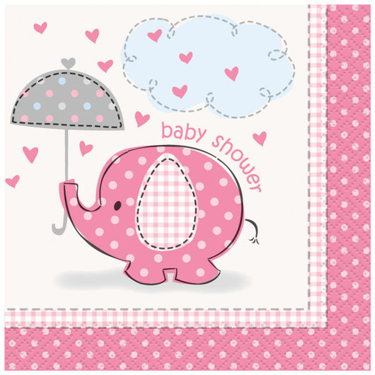 Umbrellaphants Pink Beverage Napkins, 16ct.