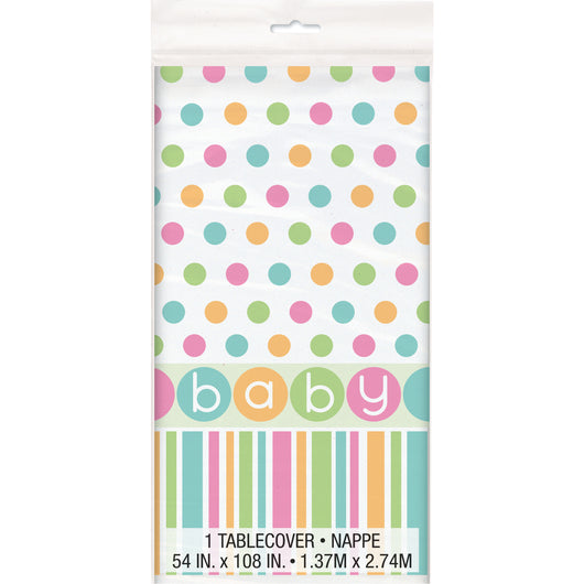 Pastel Baby Shower Rectangular Plastic Table Cover, 54