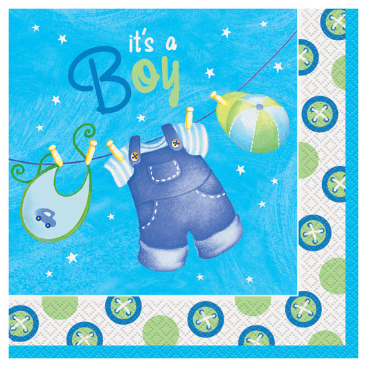 Blue Clothesline Baby Shower Luncheon Napkins, 16ct