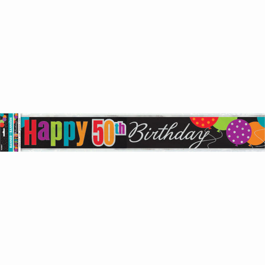Foil Birthday Cheer Age 50 Banner, 12 ft