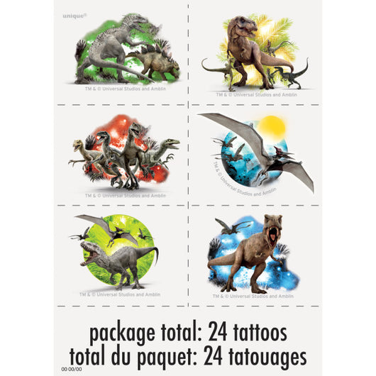 Jurassic World Color Tattoo Sheets, 4ct