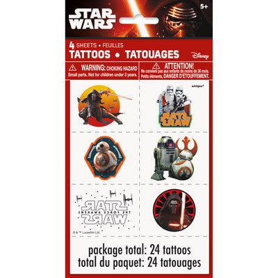 Star Wars Episode VII Color Tattoo Sheets, 4ct