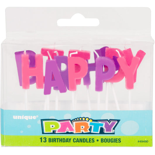 Pastel Happy Birthday Letter Pick Candles, 13ct