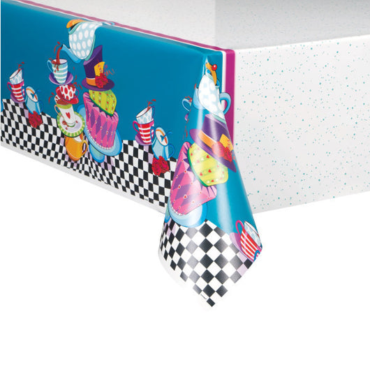 Mad Hatter Tea Party Plastic Printed Table Cover, 54