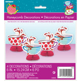 Mad Hatter Tea Party Mini Honeycomb Decorations, 4ct