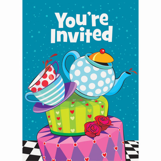 Mad Hatter Tea Party Invitations, 8ct.