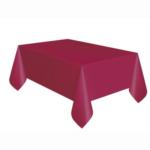 Burgundy Solid Rectangular Plastic Table Cover, 54