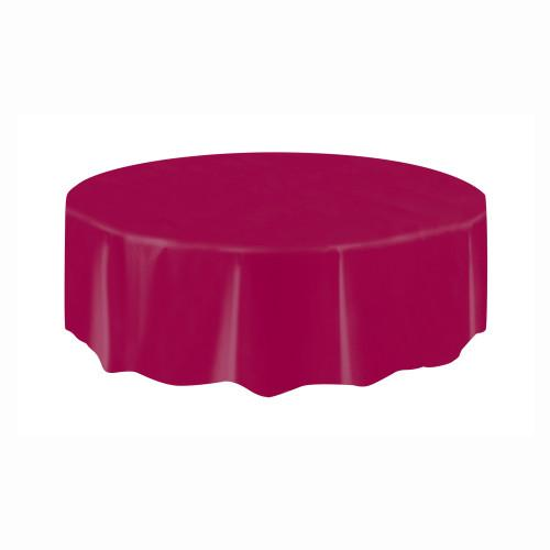 Burgundy Solid Round Plastic Table Cover, 84