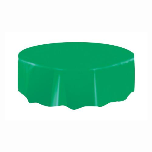 Emerald Green Solid Round Plastic Table Cover, 84