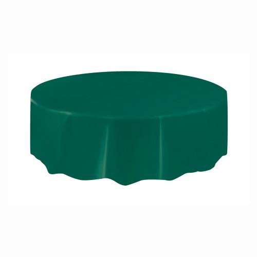 Forest Green Solid Round Plastic Table Cover, 84