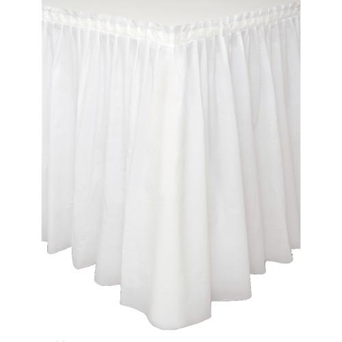 White Solid Plastic Table Skirt, 29