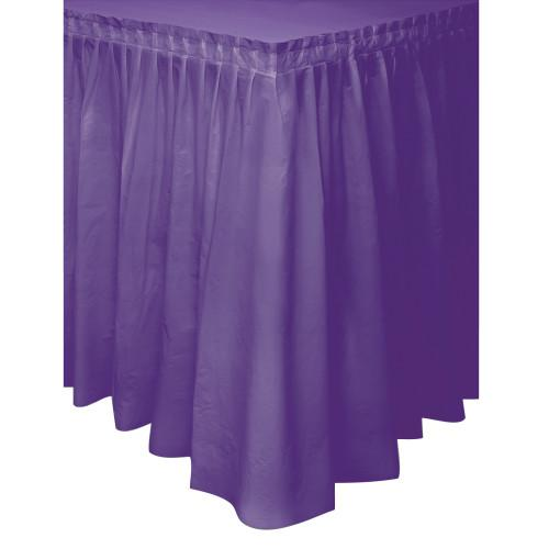Purple Solid Plastic Table Skirt, 29