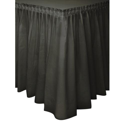 Black Solid Plastic Table Skirt, 29