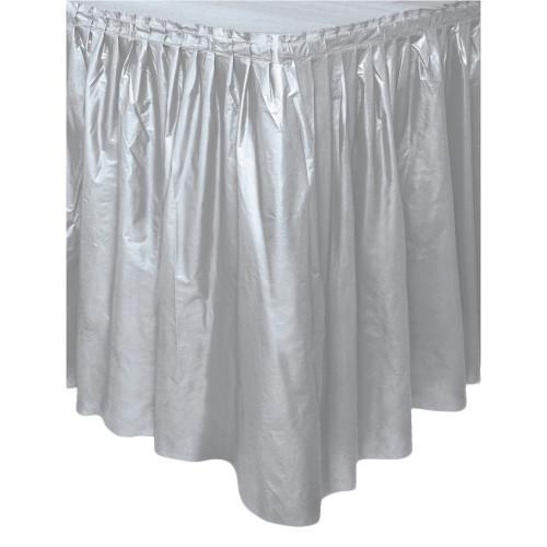 Silver Solid Plastic Table Skirt, 29