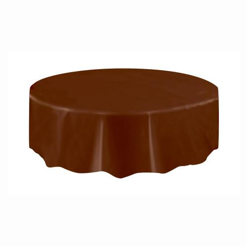 Brown Solid Round Plastic Table Cover, 84