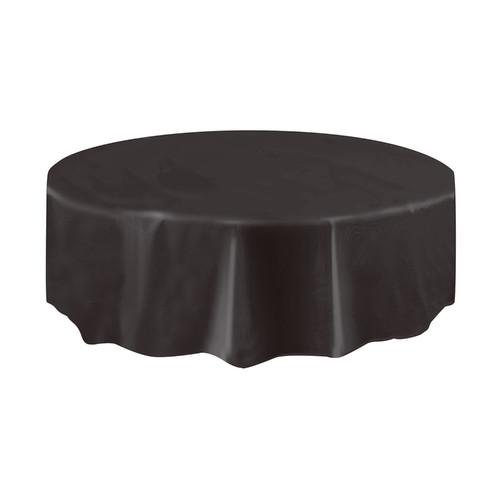Black Solid Round Plastic Table Cover, 84