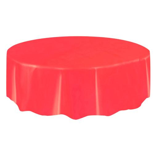 Red Solid Round Plastic Table Cover, 84