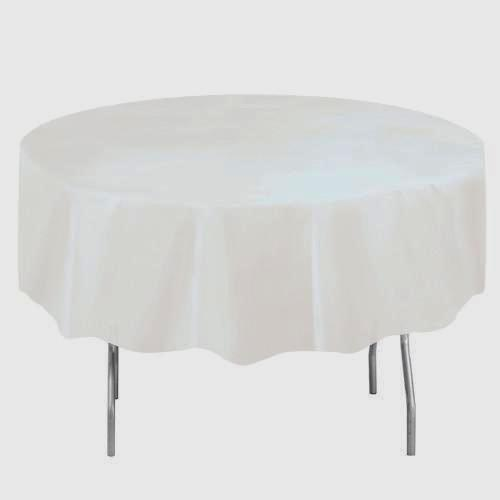 White Solid Round Plastic Table Cover, 84
