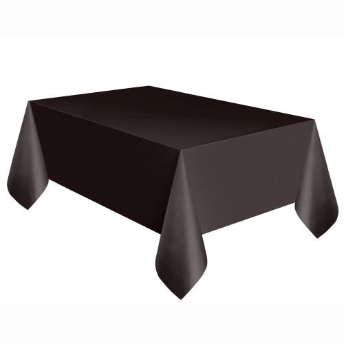 Black Solid Rectangular Plastic Table Cover, 54