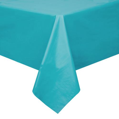 Caribbean Teal Solid Rectangular Plastic Table Cover, 54