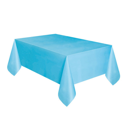 Powder Blue Solid Rectangular Plastic Table Cover, 54