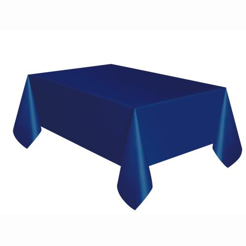 True Navy Blue Solid Rectangular Plastic Table Cover, 54