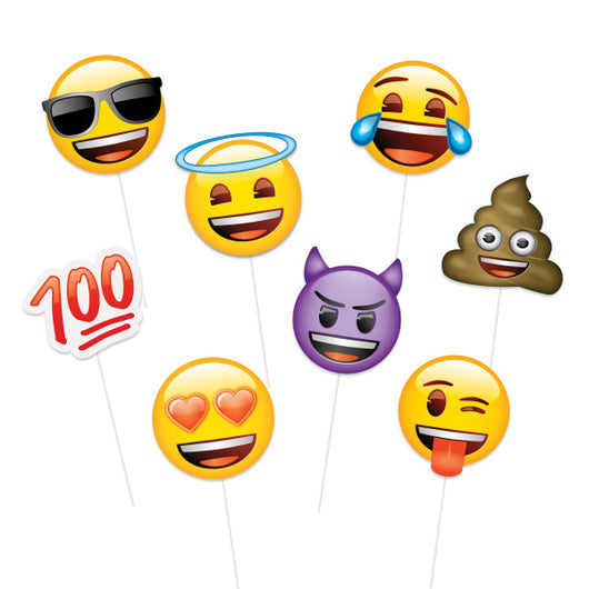 Emoji Faces Photo Booth Props, 8ct
