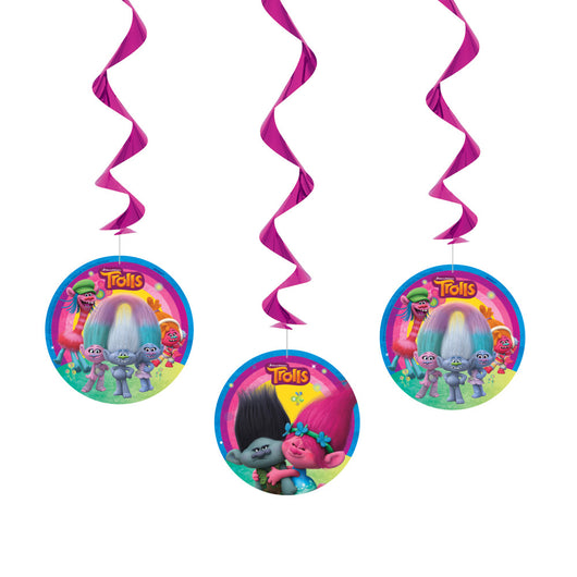 Trolls Hanging Swirl Decorations, 3ct.