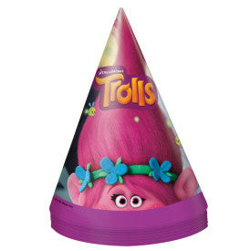 Trolls Party Hats, 8ct.